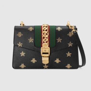 Gucci Black Sylvie Bee Star Small Shoulder Bag