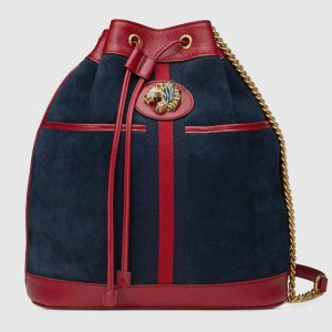 Gucci Blue/Red Suede Rajah Medium Bucket Bag