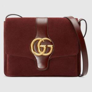 Gucci Bordeaux Suede Arli Medium Shoulder Bag
