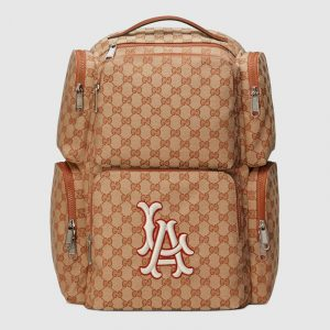 Gucci Brick Red/Beige GG Canvas LA Angels Large Backpack Bag