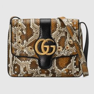 Gucci Cognac Snakeskin Arli Medium Shoulder Bag