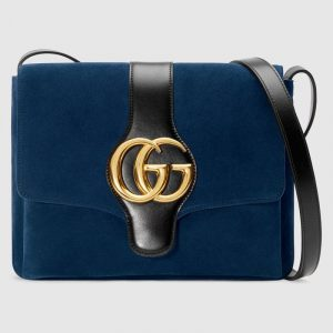 Gucci Dark Blue Suede Arli Medium Shoulder Bag