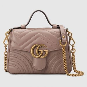 Gucci Dusty Pink Matelassé Chevron GG Marmont Mini Top Handle Bag