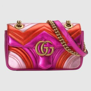Gucci Fuchsia/Red/Pink Metallic Matelassé Chevron GG Marmont Mini Shoulder Bag
