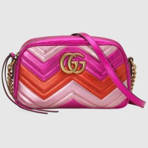 Gucci Fuchsia/Red/Pink Metallic Matelassé Chevron GG Marmont Small Chain Shoulder Bag