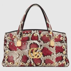 Gucci Grey/Red Snakeskin Arli Large Top Handle Bag