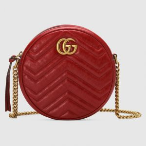 Gucci Hibiscus Red Matelassé Chevron GG Marmont Mini Round Shoulder Bag