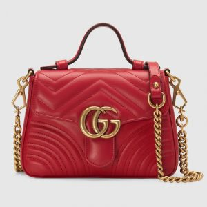 Gucci Hibiscus Red Matelassé Chevron GG Marmont Mini Top Handle Bag