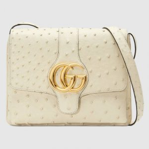 Gucci Ivory Ostrich Arli Medium Shoulder Bag