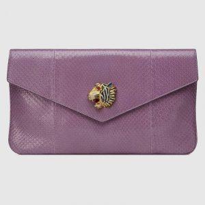 Gucci Lavender Python Rajah Clutch Bag