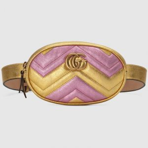 Gucci Pink/Gold Metallic Matelassé Chevron GG Marmont Belt Bag