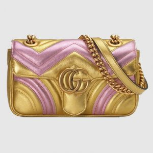 Gucci Pink/Gold Metallic Matelassé Chevron GG Marmont Mini Shoulder Bag