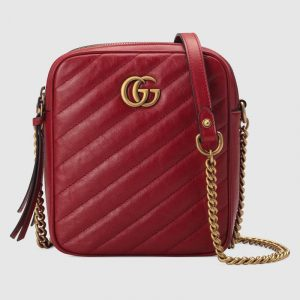 Gucci Red Matelassé GG Marmont Mini Shoulder Bag