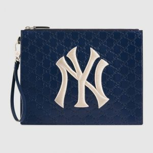 Gucci Royal Blue Gucci Signature NY Yankees Pouch Bag