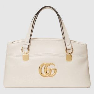Gucci White Arli Large Top Handle Bag