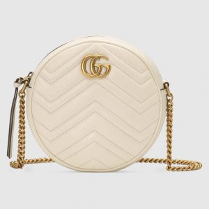 Gucci White Matelassé Chevron GG Marmont Mini Round Shoulder Bag