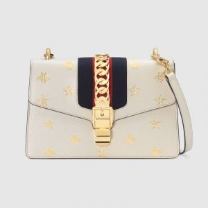 Gucci White Sylvie Bee Star Small Shoulder Bag