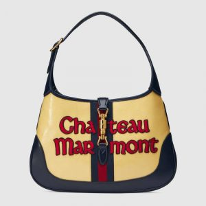 Gucci Yellow GG Patent Chateau Marmont Jackie Medium Hobo Bag