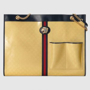 Gucci Yellow Patent GG Canvas Rajah Large Tote Bag