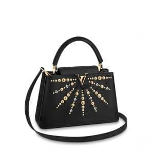 Louis Vuitton Black Studded Capucines PM Bag