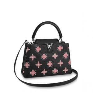 Louis Vuitton Black Studded Monogram Flowers Capucines PM Bag