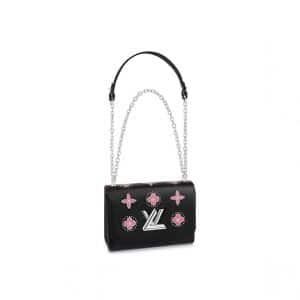 Louis Vuitton Black Studded Monogram Flowers Twist MM Bag