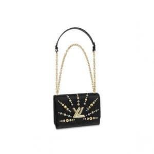 Louis Vuitton Black Studded Twist MM Bag