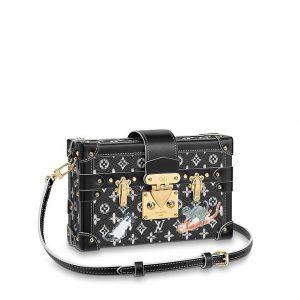 Louis Vuitton Black/White Catogram Petite Malle Bag