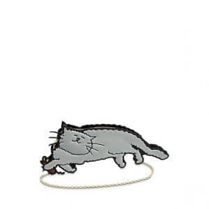 Louis Vuitton Gray Full Cat Clutch Bag