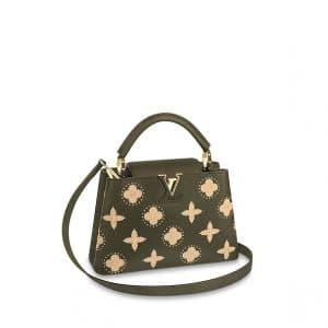 Louis Vuitton Khaki Studded Monogram Flowers Capucines BB Bag