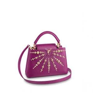 Louis Vuitton Magenta Studded Capucines BB Bag