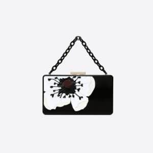 Valentino Black Anemone Flower Minaudière Clutch Bag