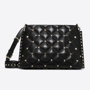Valentino Black Candystud Crossbody Messenger Bag