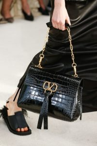 Valentino Black Crocodile Shoulder Bag - Spring 2019