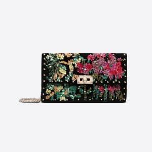 Valentino Black Embroidered Rockstud Spike Chain Clutch Bag