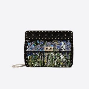 Valentino Black Embroidered Velvet Medium Rockstud Spike Bag