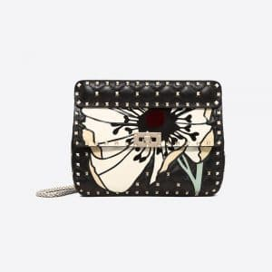 Valentino Black Flower Motif Medium Rockstud Spike Bag