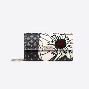 Valentino Black Flower Motif Rockstud Spike Chain Clutch Bag