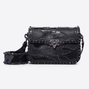 Valentino Black Guitar Strap Camouflage Embroidered Bag