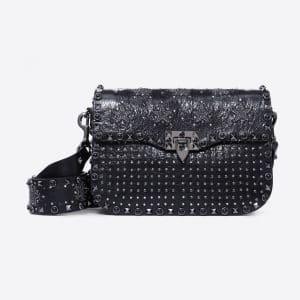 Valentino Black Guitar Strap Punk Star Embroidered Bag