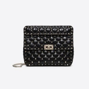 Valentino Black Moncler Quilted Nylon Medium Rockstud Spike Bag
