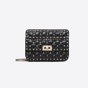 Valentino Black Moncler Quilted Nylon Small Rockstud Spike Bag