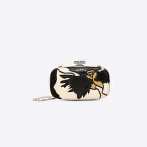 Valentino Black Pansy Flower Minaudière Clutch Bag