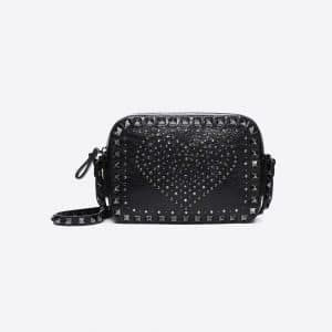 Valentino Black Punk Heart Rockstud Camera Bag