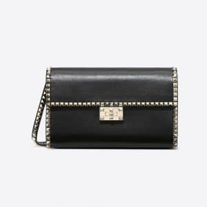Valentino Black Rockstud No Limit Clutch Bag