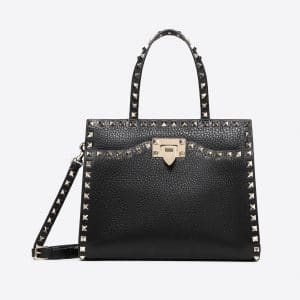 Valentino Black Rockstud Small Top Handle Bag