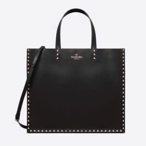 Valentino Black Rockstud Trimmed Tote Bag