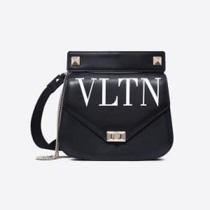 Valentino Black VLTN Shoulder Strap Saddle Bag