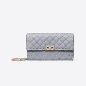 Valentino Dark Blue Rockstud Spike Chain Clutch Bag