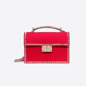 Valentino Disco Pink Velvet Rockstud No Limit Shoulder Bag